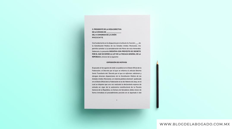 Iniciativa con proyecto de decreto de la LEY DE LA FISCALÍA GENERAL DE LA REPÚBLICA