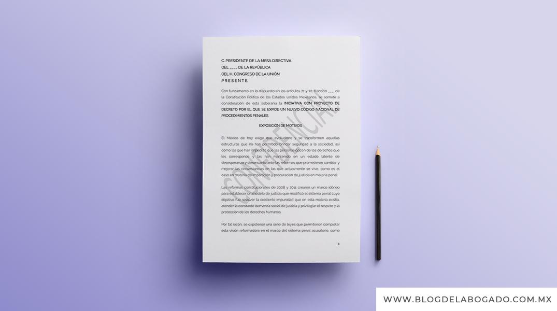 Supuesta Iniciativa con proyecto de decreto por el que se expide un Nuevo Código Nacional de Procedimientos Penales